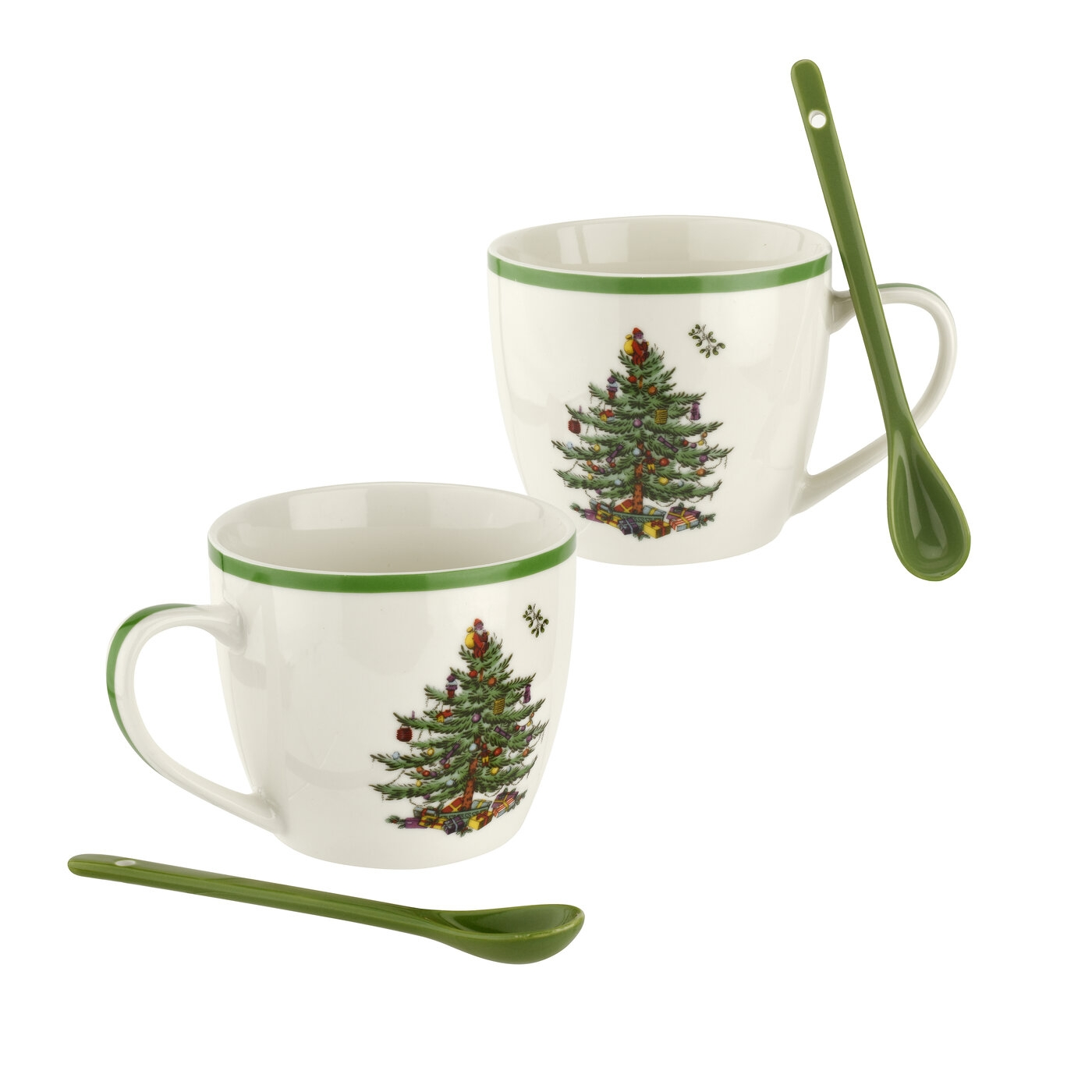 Spode Christmas Tree 4 Piece Mug and Spoon Set image number null