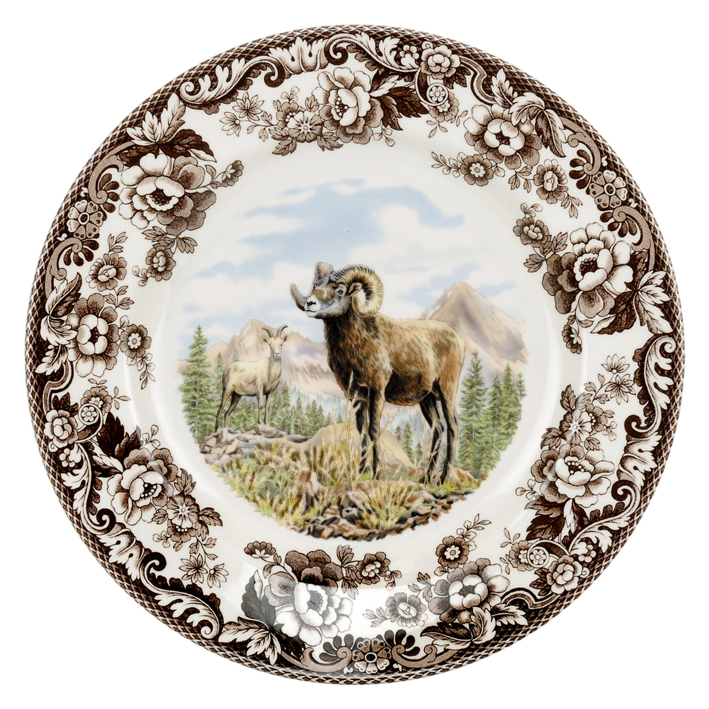 Spode Woodland Dinner Plate 10.5 Inch (Bighorn Sheep) image number null
