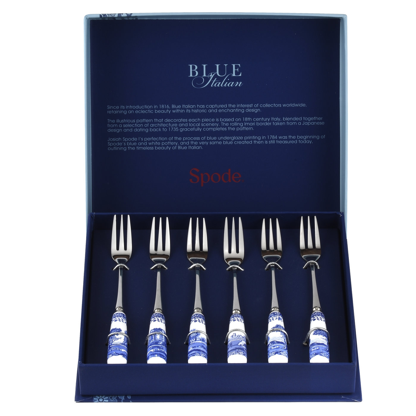 Spode Blue Italian Set of 6 Pastry Forks image number null